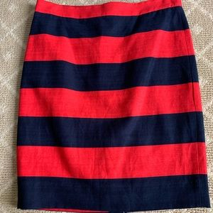 J. Crew linen and cotton red & blue stripes skirt